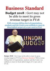 Budget 2018 - Govt may not be able to meet its gross revenue target in FY18.pdf