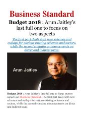 Budget 2018 - Arun Jaitley's last full one to focus on two aspects.pdf