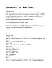 Panduan Cara mengunci Folder Tanpa Software By Mr. Bomber