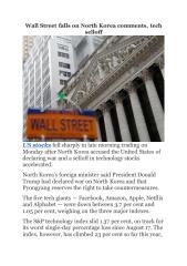 Wall Street falls on North Korea comments, tech selloff.pdf