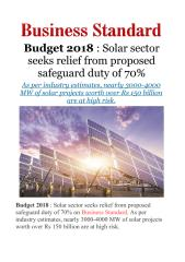 Budget 2018 - Solar sector seeks relief from proposed safeguard duty of70%.pdf